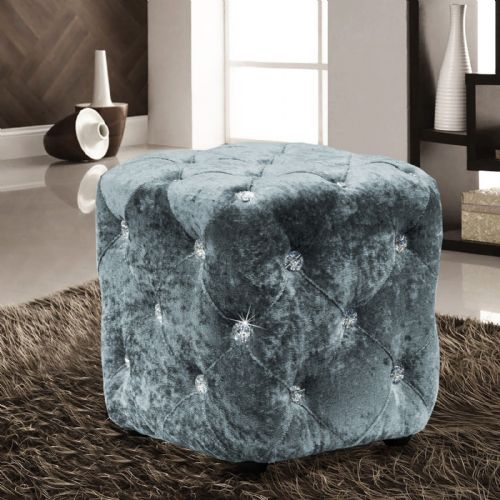 DUCK EGG LUXURY CRUSHED VELVET DIAMANTE FOOT STOOL CUSHION CUBE POUFFE DESIGNER FURNITURE